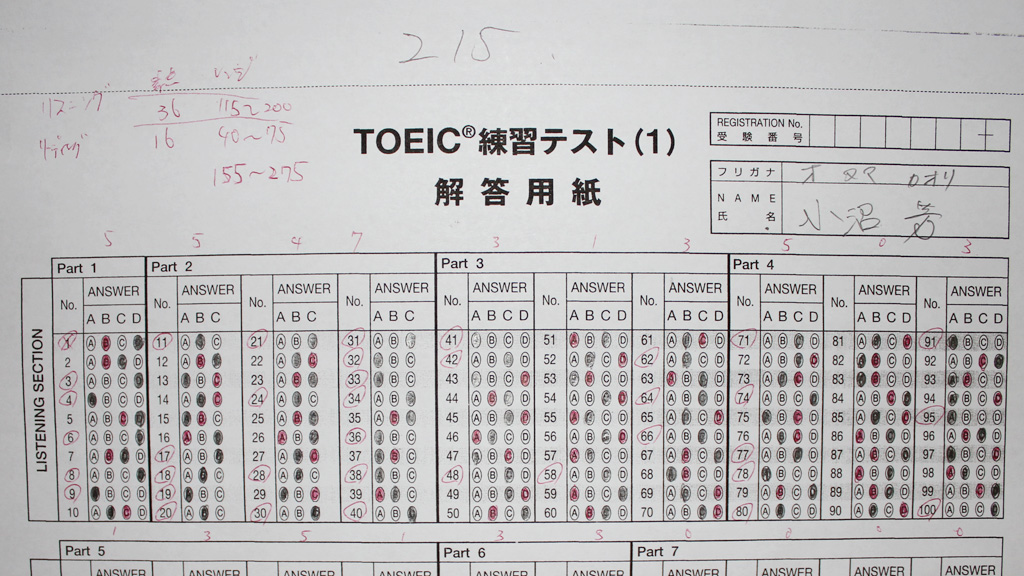 TOEIC模擬試験は210点