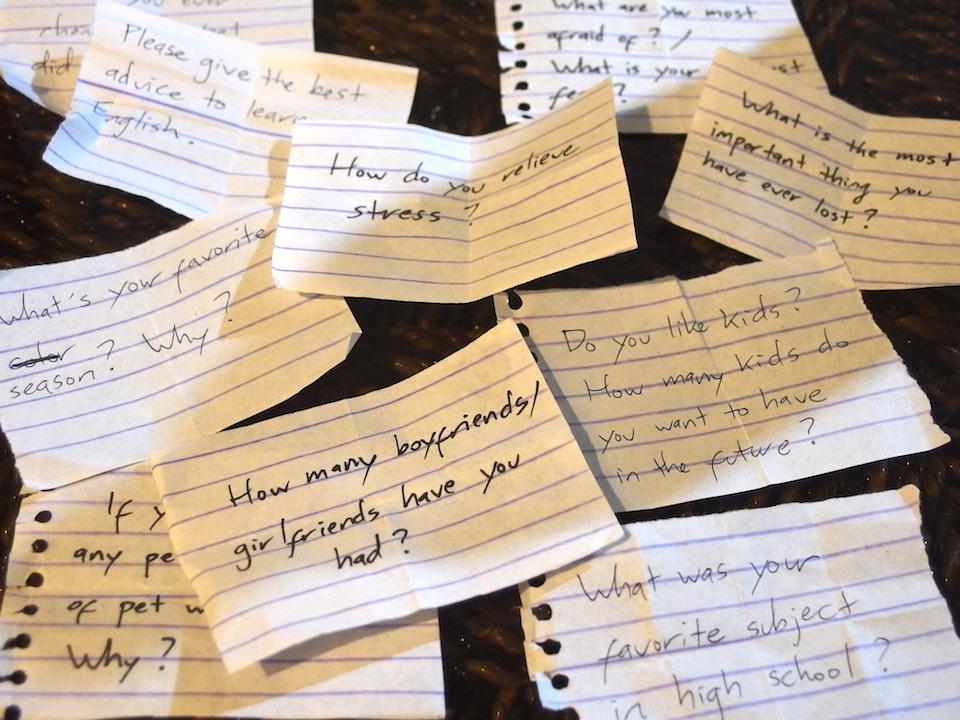 フィリピン留学夕食後のクリークラスTalk Timeの質問事項