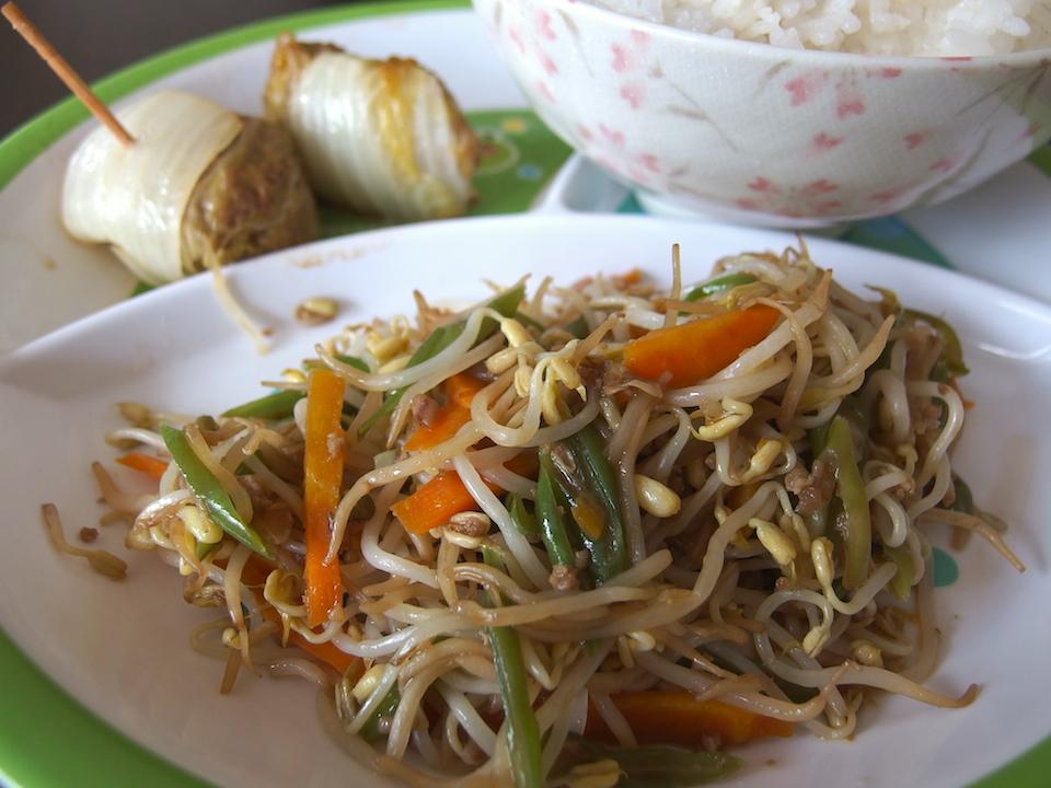 野菜炒めとロール白菜